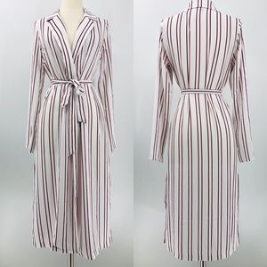 Forever 21 Striped Belted Kimono Duster